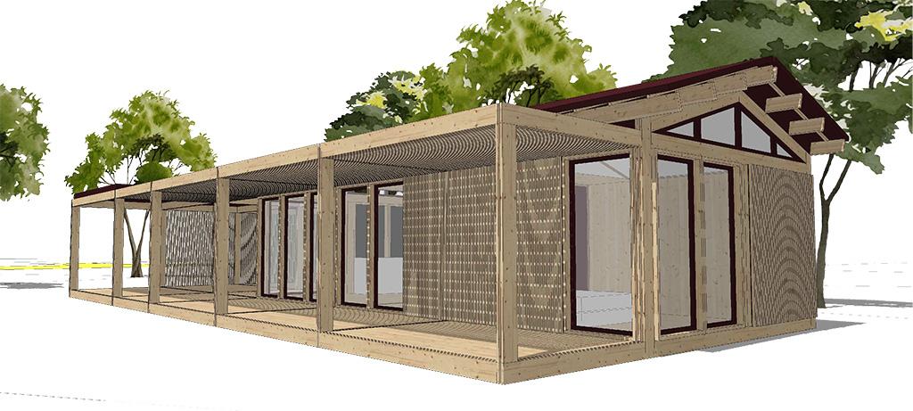 Projet sur mesure d'une maison de 50 m2 avec terrasse et toit double pente.