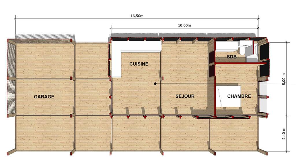 Plan intérieur de la maison : une chambre avec salle de bain, un séjour, une cuisine, terrasse et garage.