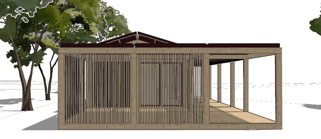 Vue de la maison coté garage à toiture plate et coté ajouré.